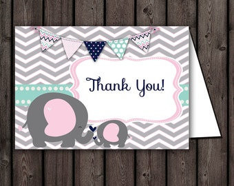 Baby shower thank you cards, elephant pink mint thank you cards, instant download at purchase, favors foldable blank inside two to page PDF