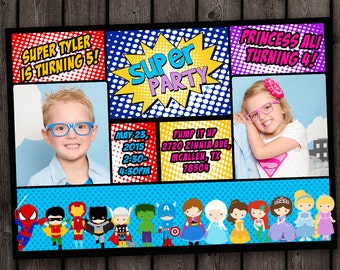 superhero princess invitation, princess and superhero party birthday invitation, princess party superhero party, princesses, superheroes