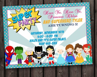 superhero princess invitation, superhero invitation, princess invitation, twins, double kids party, brother sister invitation, superhero