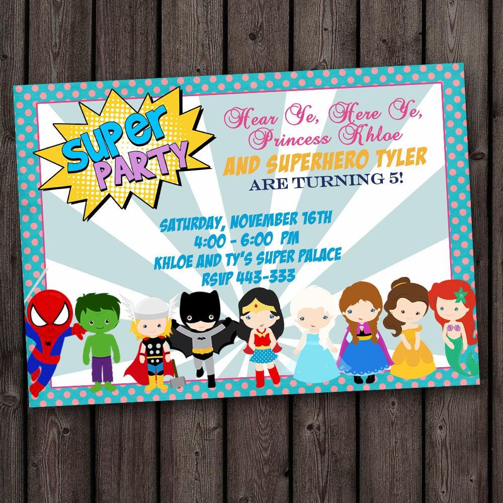 superhero princess gender reveal invitation superhero