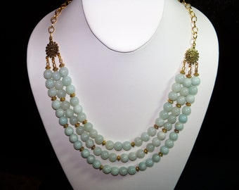 A Beautiful Amazonite Triple Tier Necklace and Earrings. (201513)