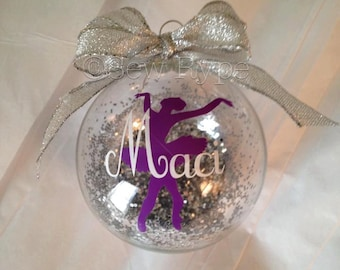 Personalized Glass Ball Ornament with Ballet Slippers, Crown, or Ballerina for child!
