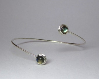 Labradorite Gemstone Cuff Bracelet in Sterling Silver - Made to Order Gemstone Jewelry