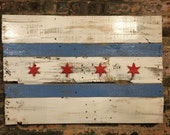 chicago, art, flag, retro, wood, signs, vintage, chicago flag, reclaimed, wall, wall art, home, home decor, accessories, repurposed, crafts