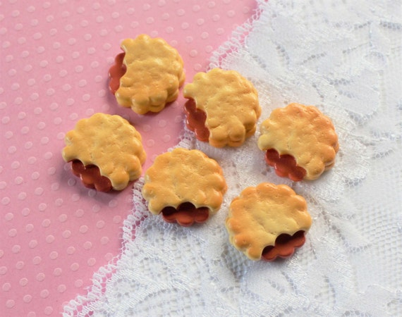 6 Pcs Round Bitten Jam Filled Cookie Cabochons - 20mm from ...