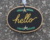 Hello Daisy Handmade Embroidery Hoop Art. 3.5x5 Inch Hand Embroidered Home Decor. Floral hoop. Gifts under 25. Gifts for her. Housewarming.