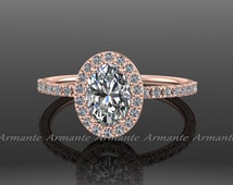 Oval Moissanite Engagement Ring, 14k Rose Gold Moissanite And Conflict Free Diamond Wedding Ring Re00056