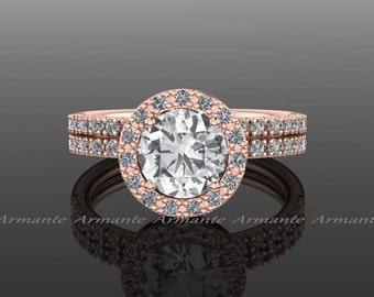 Halo  Natural White Sapphire And Diamond Bridal Set, 14k Rose Gold Engagement Set, Halo Ring, Wedding Ring, Wedding Set Re00060