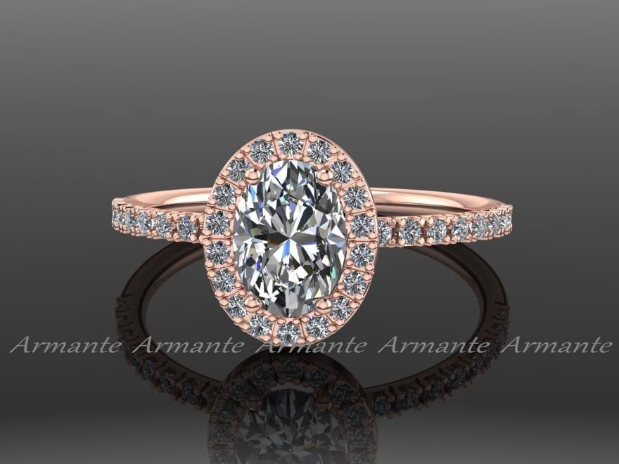 Oval Moissanite Engagement Ring 14k Rose Gold Moissanite And