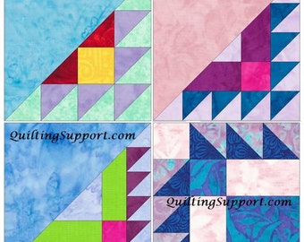 Bordered Sawtooth Set of 4 Paper Piece Template Quilting Block Patterns Set 1 PDF