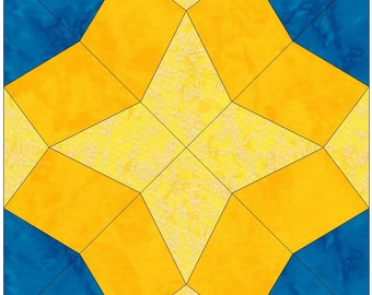 Full Blown Tulip Paper Template Quilting Block Pattern PDF