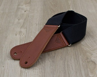 """Handmade Webbing Guitar Strap with Leather ends - 2"""" Wide, Adjustable from 38"""" to 60"""" long."""