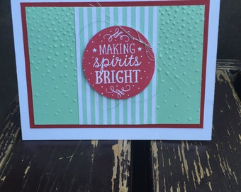 Stampin Up-Among the Branches-Cherry Cobbler Mint Macaron-Christmas Card - Making Spirits Bright