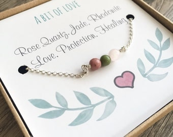 Love Bracelet, Gemstone Bracelet, Love, Protection, Sentiment Bracelet, Rose Quartz, Jade, Rhodonite