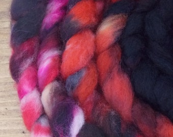 Hand dyed Blue Faced Leicester and nylon (80/20) braid for hand spinning 4.8 oz, 136 g