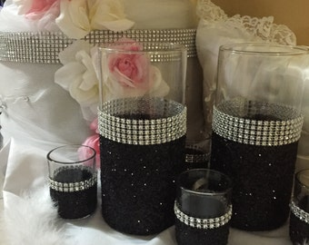 Wedding centerpiece, rhinestone vase, (1) vase, bridal bouquet holder, black glitter, bling wedding, candle holder, glitter vase
