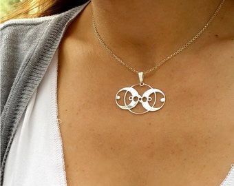 Geometric Necklace -Two Circles- Sterling Silver Circles Necklace - Crop Circle - MS07