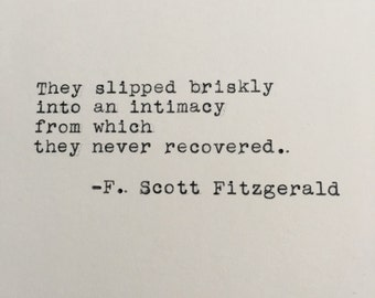 F. Scott Fitzgerald Love Quote (This Side of Paradise) Typed on Typewriter - 4x6 White Cardstock