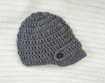 Crochet baby hat, baby boy hat, crochet newsboy hat, baby shower gift, baby boy gift, newborn photo prop, baby hats for boys, gray