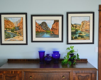 3 original landscape paintings large watercolors fine art painting Colorado western art canyons mountains office  framed paintings river art