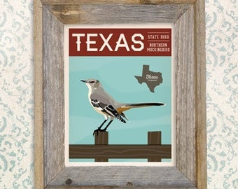 Vintage Texas Series Poster #1 - Northern Mockingbird - TX State Bird