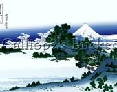 Shichiri Beach in Sagami Province - From the series Thirty-six Views of Mount Fuji - 冨嶽三十六景  相州 七里濱, Ukiyo-e woodblock print.
