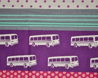 Echino Purple Pink Grey Bus - Etsuko Furuya - Cotton Linen Fabric
