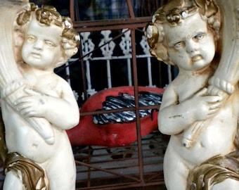 Antique Cherub Statue, Cherub Candle Holders, French Conservatory, Garden Statue, Column, Architectural, Artcraft