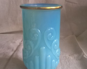 Vintage Shabby Blue Tumbler, Cup, Aqua, Powder Room, Cottage, Beach, Coastal