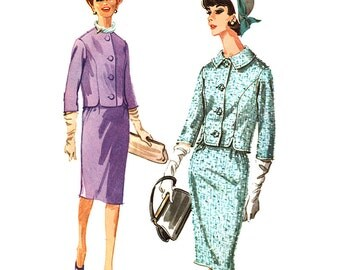"""McCall's Sewing Pattern 6198 Misses' Suit - Skirt, Jacket - estimated Vintage 1960's  Size:  18  Bust 38""""  Used"""