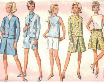 Simplicity Sewing Pattern 7548 Misses' Jacket, Skirt, Pant-skirt, Shorts, Blouse - estimated vintage 1960's  Size:  14  Bust 36  Used