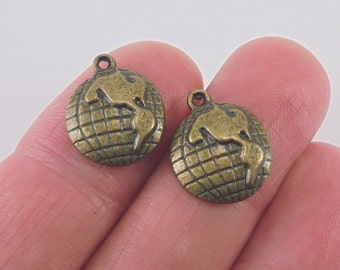 15 pc. Earth or Globe charm, 15x13mm, antique bronze finish