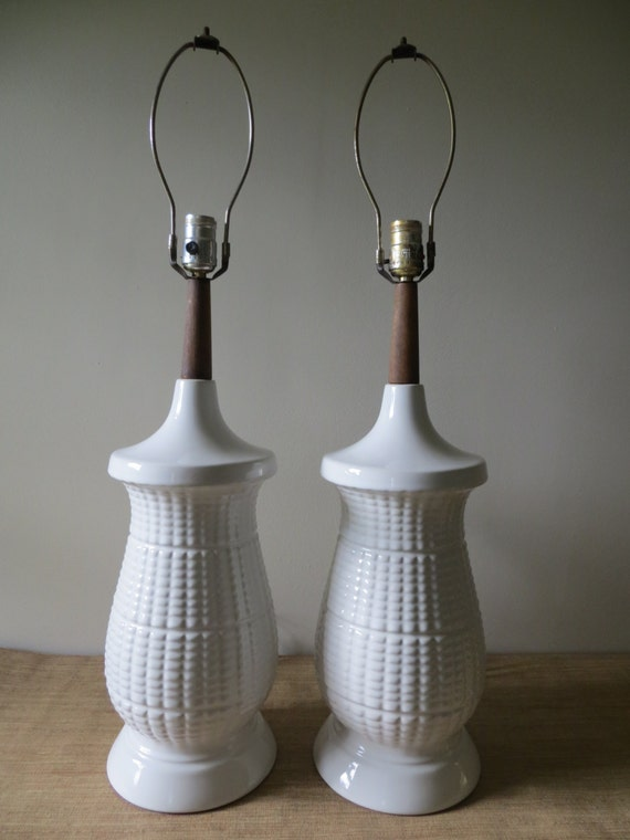 century modern table lamps pair tall white textured ceramic lamps. Black Bedroom Furniture Sets. Home Design Ideas
