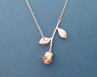Beautiful, Rose gold, Rose, Necklace, Flower, Necklace, Lovers, Best friends, Birthday, Friendship, Gift, Jewelry