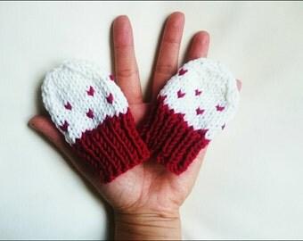 Cherry- baby girl super soft organic mittens,newborn mittens,girl mittens,newborn gloves,baby girl gloves,newborn accesory,baby accesory,