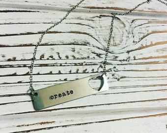 Horizontal sidebar personalized, hand stamped necklace