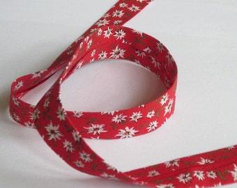 Cotton bias binding B = 20 mm Edelweiß on Red