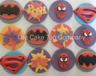 Girl Super Hero Fondant Cupcake Toppers