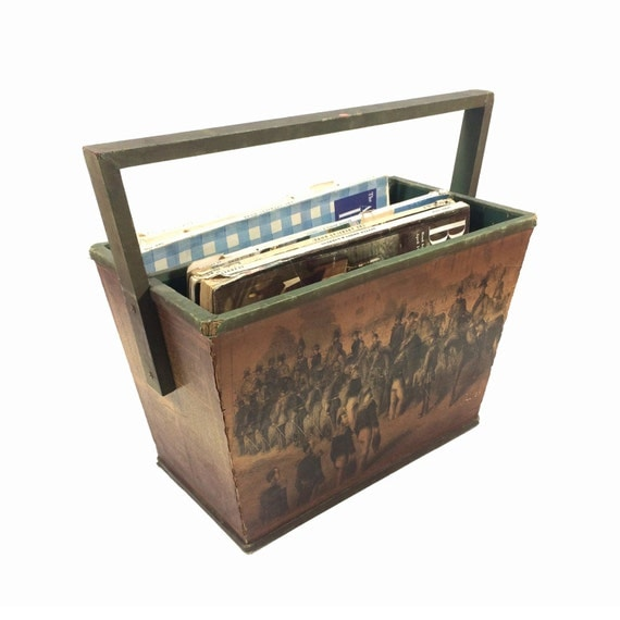 Antique Wooden Racks ~ Vintage wood magazine rack with antique art