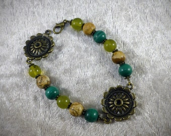 Bracelet In the Woods, Malachite, Serpentine and Jasper landscape