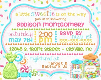 Candy Themed Baby Shower Digital Invitations / Little Sweetie Colorful Invitation / Lollipop Jelly bean Sweets Candy Baby Shower - PRINTABLE