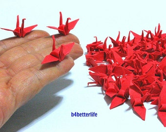 "100pcs 1.5"" Red Color Origami Cranes Hand-folded From 1.5""x1.5"" Square Paper. (KR paper series). #FC15-37."