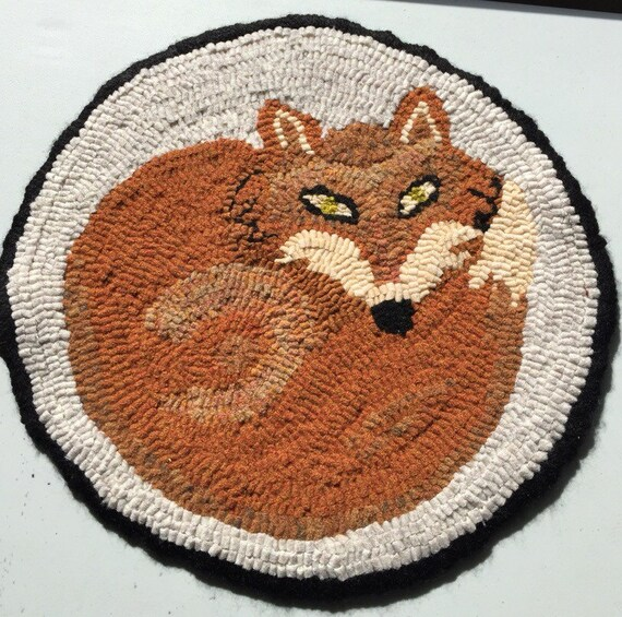 Hooked Rug Chair Pad Sly Fox Camp Cottage By