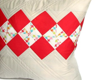 Quilted Pillow Cover 18x18, Modern Patchwork Pillow, Grey and Pink Pillow Sham, Cushion Cover