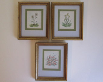 3 Original 70's Mod Miniature Signed floral Watercolors set of 3