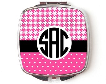 Monogram Purse Mirror - Monogram Gift for Her - Pink Houndstooth