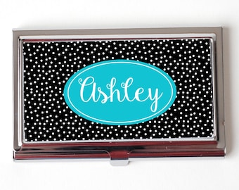 business card holder - turquoise & black holder for business cards