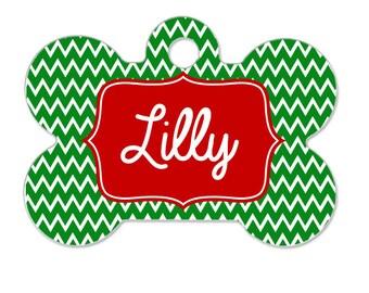 Personalized Pet Tag - Chevron Pet Tag - Christmas Pet Tag - Red & Green Pet Tag - Pet ID Tag - Pet Name Tag