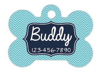 Personalized Dog Tag - Blue Chevron Dog ID Tag - Personalized Bone Dog Tag - Pet Gift - Custom Pet ID Tag