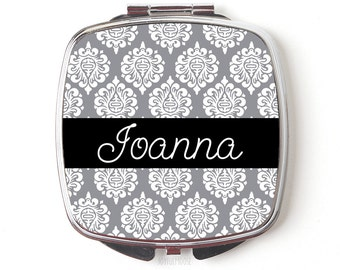 Personalized Compact Mirror - Personalized Bridesmaids Gifts - Gray Damask Compact Mirrors